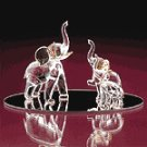 Glass Elephant With 2 Babies -25591
