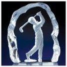 Clear Glass Carved Golfer -29429
