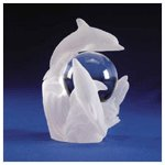 Polyresin Frosted Sculpture - 3 Dolphins With Crystal Ball -31219