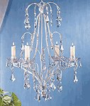Distressed White Metal Chandelier Candle Holder -33001