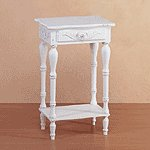 Distressed White Wood Carved Side Table -34353