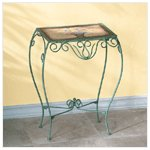 Green Floral Metal Side Table -33266