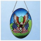 Art Glass Eagle, Flag Suncatcher -33609