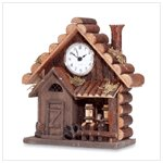 Wood Log Cabin Clock -33737