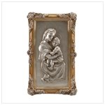 Silver Finish Madonna and Child Wall Plaque -33755
