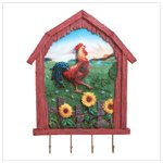 Rooster Key Holder-Wall Plaque  -34101