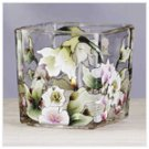 Victorian Flowers Square Glass Votive Holder -34223