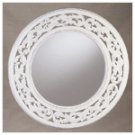 Round Distressed White Wall Mirror -34350