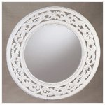 Round Distressed White Wall Mirror -34350