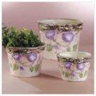 Nesting Ceramic Planters with Morning Glories -34355