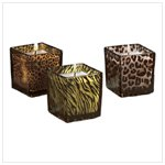 Safari Glass Candle Holders (Set of 3) -34066