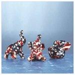 Mini American Flag Patchwork Elephants -34857