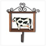 Wood Framed Folk Art Cow With Hook -35114
