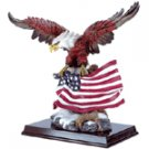 Alabastrite Eagle With Flag On Wood Base -30840