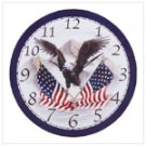 Wood Eagle and Flag Clock -34103