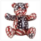 American Flag Patchwork Teddy Bear Bank -33824