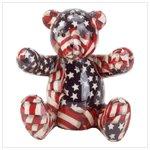 American Flag Patchwork Teddy Bear Bank -33824