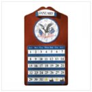 Wood Eagle And Flag Clock & Calendar -35749