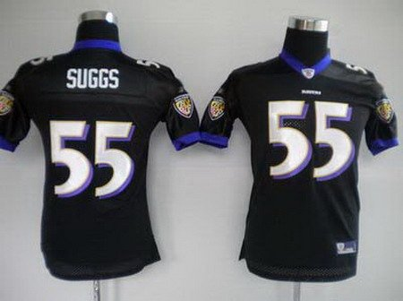 Terrell Suggs #55 Black Baltimore Ravens Youth Jersey