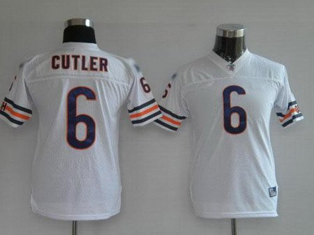 Jay Cutler #6 White Chicago Bears Youth Jersey