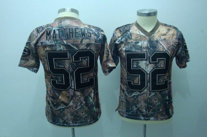 Clay Matthews #52 Camo Green Bay Packers Youth Jersey