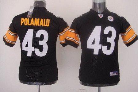 Troy Polamalu #43 Black Pittsburgh Steelers Youth Jersey