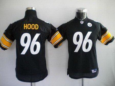 Evander Hood #96 Black Pittsburgh Steelers Youth Jersey