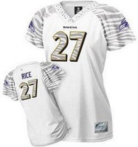 Ray Rice #27 Zebra White Baltimore Ravens Women's Jersey