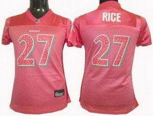 Ray Rice #27 Pink Baltimore Ravens Women's Jersey