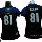 Anquan Boldin #81 Black Baltimore Ravens Women's Jersey