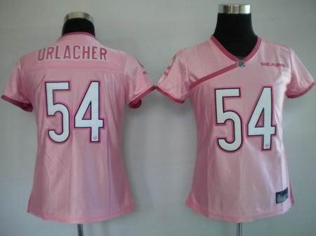 Brian Urlacher #54 Pink Chicago Bears Women's Jersey