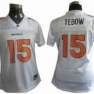 Tim Tebow #15 White Denver Broncos Women's Jersey