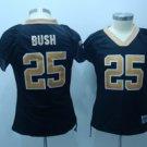 Reggie Bush #25 Black New Orleans Saints Women's Jersey