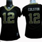 Marques Colston #12 Black New Orleans Saints Women's Jersey