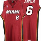 LeBron James #6 Red Miami Heat Men's Jersey