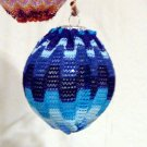 Blue Crochet fabric covered Christmas Ornament Zig Zag Missoni Lara Style