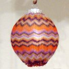 Orange fabric covered Christmas Ornament Zig Zag Missoni Style