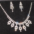 Wedding Bridal Rhinestone/Pearl Necklace & Earrings Set