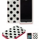 New kate spade 3-pieces hard case for iPhone 4/4S (White/Black  Polka dots)