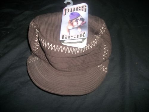 PUGS GEAR SQUARE STITCHED BEANIE~BROWN~SIZE S~