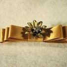 Barrette handmade Gold Satin Dior Bow gold metal flower center OAK
