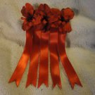 Large Barrette with Red Silk Flowers Handmade