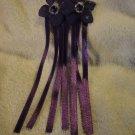Barrete Deep Purple Satin Tails w extra Handmade