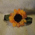 Barrette Sunflower w greenery Handmade