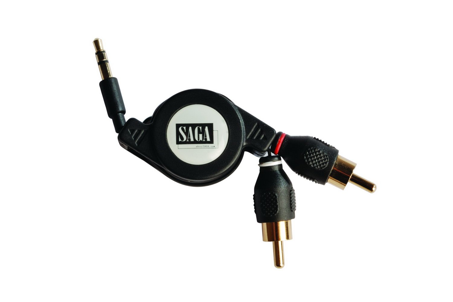 aboutSAGA 2.6ft Retractable 3.5mm Mini plug to 2 RCA plugs