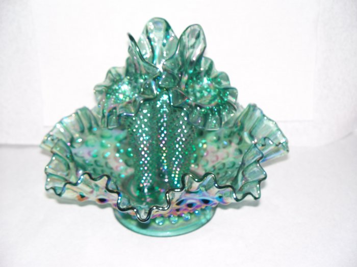 FENTON TEAL CARNIVAL EPERGNE