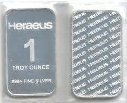 Heraeus 1 Troy Oz. Silver Bullion Bar .999 Fine