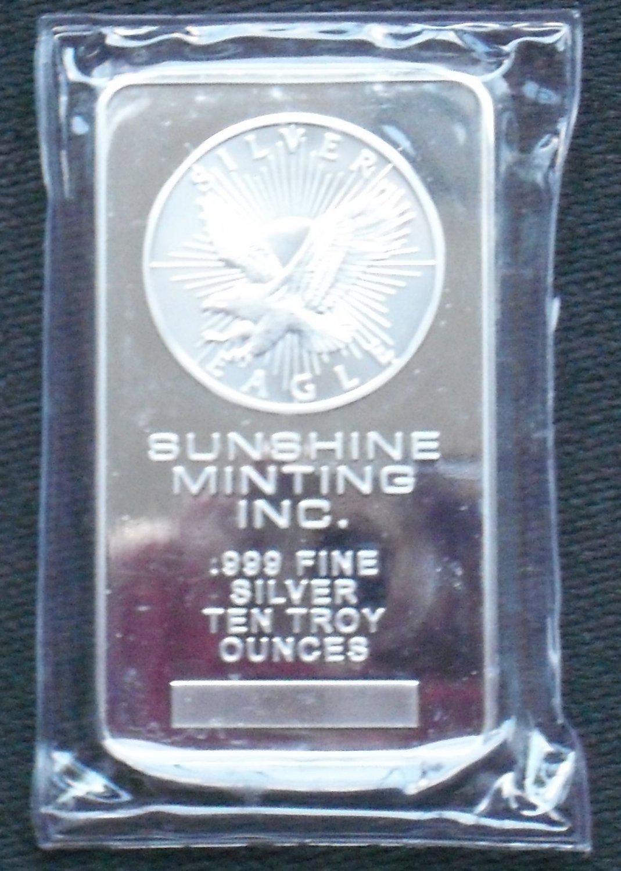 Sunshine Minting Silver Bullion Bar 10 Troy Oz