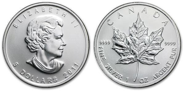 2011 Canadian Silver Maple 1 Troy Oz. Silver Coin, .9999 Fine