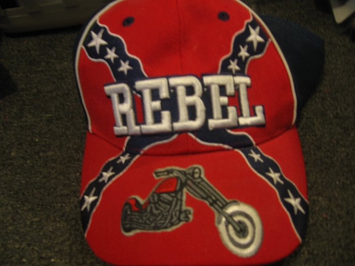 Confederate flag hat with motorcycle on the bill